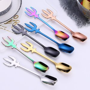 ECO Friendly Dessert Ice Cream Coffee Spoon 7 Colors Multifunction Stainless Steel Kitchen Accessories Flatware Fruit Fork