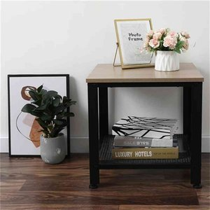 Industrial End Table, Square Side Table With Storage Shelf For Living Room, Wood And Metal Nightstand