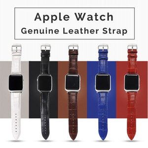 Genuine leather straps With Metal Buckle cinturini per orologi Apple Watch Bands 44mm 42mm Crocodile Sport iWatch Band