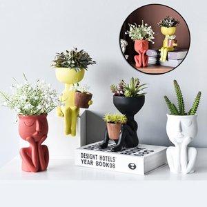 Vases Art Portrait Sculptures Flower Pot Garden Storage Abstract Character Succulents Plant Micro Landscape Decor Home