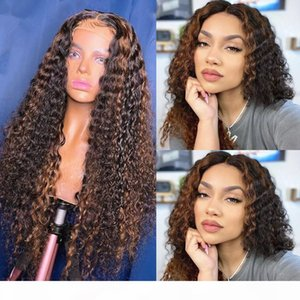 Wet and Wavy 13X6 Pre plucked Honey Blonde Silk Base Lace Front Wigs Highlight Brown Ombre Human Hair Wig Preplucked Brazilian Women