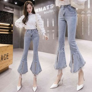 Women's Jeans Spring and Summer Slim Fashion All-match Diamond Set Heavy Split Micro Bell-bottom Pants Streetwear YBQC