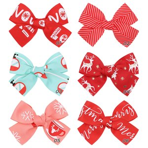 6 Colors Girl Christmas Hair Bows 4.25 inch Bow Letter Deer Red Color Design Baby Girls Elegant Clippers Kids Accessory Gift