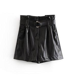 2019 Pu Leather Shorts Women High Waist Black Short With Belt Autumn Winter Female Faux Leather Pleated Mini Short Pants