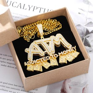 Iced Out High Quality Letters ATM Addicted To Money Pendant Necklaces Gold Zircon Men's Hip Hop Jewelry Gifts Will Not Fade