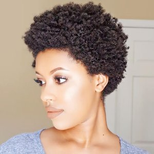 Short Kinky Afro human hair Wig for Black Women No lace front pixie cut Natural color Curly wigs
