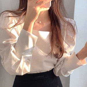 Women's Blouses & Shirts Chiffon Blouse Solid Girl's Shirt Summer Fashion Square Collar Button Casual Long Sleeve Top Office Lady Blusas Hou