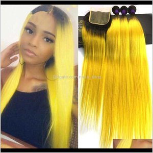 Wefts Extensions Products Drop Delivery 2021 Ombre Brazilian Straight 3 Deal Lace Remy Human Hair Bundles With Closure Colored 1B Yellow Oran