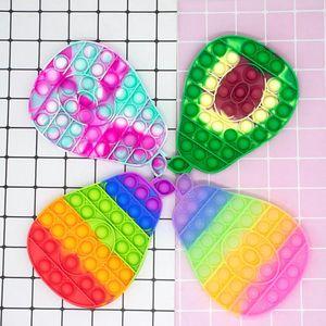 Big Size XL Avocado Push Bubble Decompression Fidget Toys RainbowColor Stress Relief Antistress Squishy Simple Dimple