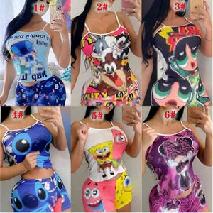 Women Tracksuits Designer Clothing Summer Colorful Two-piece Sets Slim Cartoon Printed Sleeveless Vest And Shorts Suits Outfits