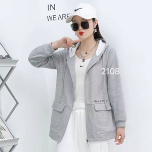 Young women's spring new long sleeve large size sweater coat hooded leisure fashion hot batch refund payment