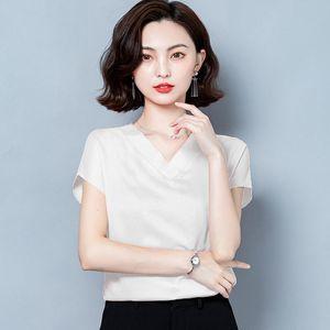 Women's Blouses & Korean Plus Size 4XL Blusas Solid Colors Bottoming Woman's Shirts Silk Short Sleeve Blouse Woman Fashion Office Lady Style 102971 QVL3