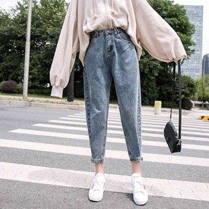 Meqeiss 2021 Nouvelle femme Jeans Velvet épaississement Harem lâche mi-taille large jambe à la cheville longueur hiver mince pantalon