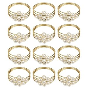 Set Of 12 Pearls Napkin Rings, Holders For Wedding Parties Kitchen Dining Valentine's Day Accessories Rings