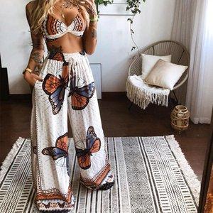 Women's Tracksuits Casual Two-Piece Suit Summer Women Boho Beach Style Print Underwear Loose Wide Leg Pants 2pcs Outfits Tracksuit Sets 2021