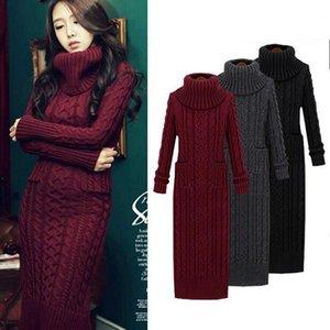 Women Winter Knit Dresses 2019 Europe Long Sleeve Turtleneck Casual Slim Warm Maxi Sweater Dress Plus Size Women's Clothing L-661