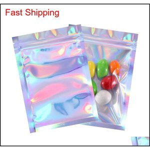 Bulk Kitchen Housekeeping Organization Home Garden Drop Delivery 2021 Food Ziplock Resealable Smell Proof Bags Foil Holographic Flat Bag For