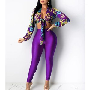 Vintage Gold Chains Print Blouse Matching Set Women Long Sleeve Printed Tie-Front Two Piece Suit Sets Outfits1