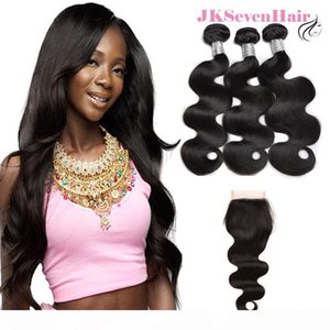 Brazilian Virgin Hair Bundles 3 PCS 4x4inch Lace Closure 12A Top Grade Body Wave Malaysian Hair Weft With Free Middle Three Part Closure