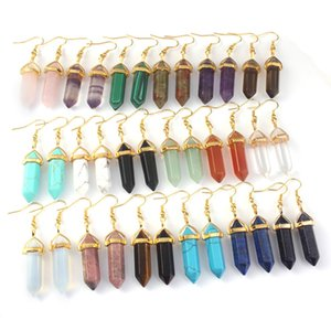 Reiki Hexagon Stone pendulum Charms Earrings Rose Quartz Turquoise Lapis Lazuli Gold Plated Healing Crystal Dangle Brand Jewelry for Women