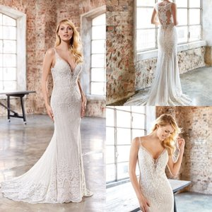 2020 Mermaid Wedding Dresses Spaghetti Lace Applique Wedding Dresses Sweep Train Bridal Gowns Vestidos De Novia
