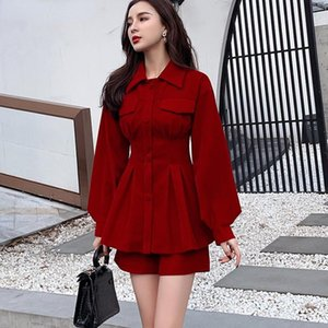 Women's Tracksuits Christmas Retro Suit Women Velvet Lapel Lantern Sleeve Pleated Slim Waist Long Shirt + Empire Shorts 2 Piece Set Red Outf