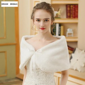 Wraps & Jackets In Stcok Faux Fur Bridal Shawl Plush Thick Collar Neck Wrap Winter Warm Cross Scarf Synthetic Leather Women