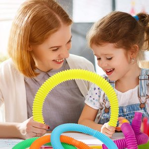 Children Vent Decompression Toys Telescopics Bellows Sensory game Color Stretch Tubes Funny Telescopic Tube Toy