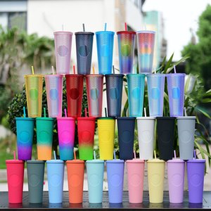 Studded Cold Cup Godness 24oz 710ml Double Wall Matte Plastic Tumbler Coffee Mug With Straw Reusable Clear Drinking Custom LOGO LXL1477