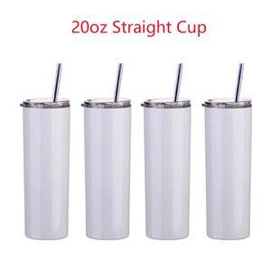Caneca de sublimação de 20oz da sublimação de 20oz de 20oz Blanks Branco 304 Vácuo de aço inoxidável isolado Magro DIY 20 Oz Cup Café Caneca