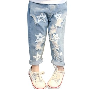 Baby Girls Jeans Star Print Pants For Elastic Waist Kids With Hole Autumn Novelty Clothes Infant 210811
