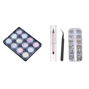 Nail Glitter Stones With Pick Up Tweezer And Rhinestones Picking Pen & Powder Pigment Set Fluorenscence Spangle