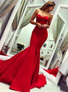 Charming Red Mermaid Prom Dresses Sweetheart Strapless Long Satin Formal Evening Gowns Simple Sexy Celebrity Party Dress For Women Girls