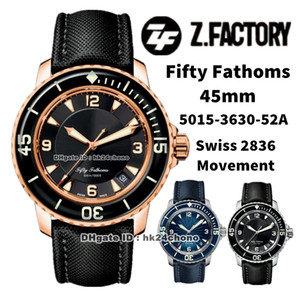 ZF Factory Watches 5015-3630-52A Cincuenta Fathoms 45mm Rose Gold Swiss ETA 2836 Autoamtic Mens Watch Sapphire Bisel Black Dial Lienzo Strap Sports Gents Wristwatches