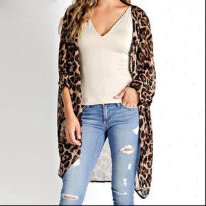 Leopard Womens Shirt slim ladies long sleeve v neck sexy kimono cardigan women blouse retro loose tops casual plus large
