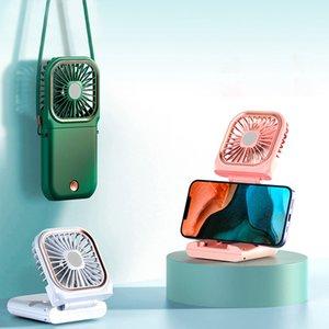 Mini-Handheld Kleiner Lüfter tragbarer Mute-Falten-USB-wiederaufladbare Hals-Hängende Halterung Power Bank 3 in 1 faltbaren Fans