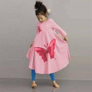 Pink Fashion Girls платье с бабочкой осень длинные принцессы вечерние платья девушка одежда 100% хлопок детские наряды 210413