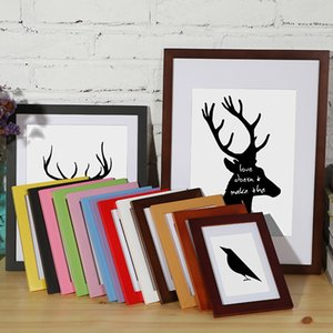 Природа Сплошная деревянная рамка A4 A3 черный белый красный синий цвет фото рамка с ковриками для настенного оборудования