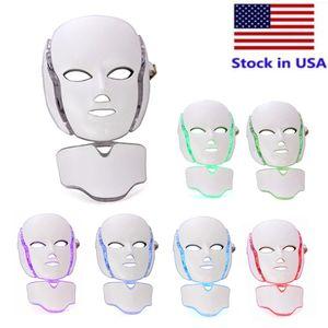 الأسهم في الولايات المتحدة الأمريكية 7 اللون pdt ضوء العلاج الصمام قناع الرقبة الوجه microluret الفوتون الجلد تجديد الوجه استخدام المنزل