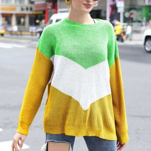 Loose Knitted Women Jumpers Long Sleeve Pullovers Sweaters Casual Winter Color Block Striped Woman Clothes Sweater