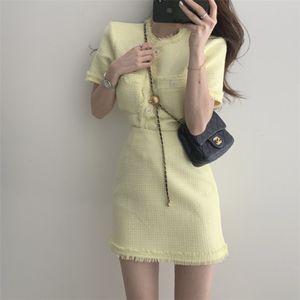 women summer korean style chic vintage short sleeve top+ high elastic waist bag hip skirts Casual Two Piece