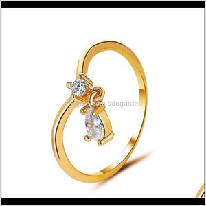 Simple Crystal Water Drop Pendant Band Sweet Lovely Girls Charm For Women Party Finger Rings Jewelry Gold Sier Midi Ring Kxko Wi4Zg