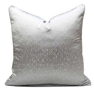 Cushion Decorative Pillow High Precision Jacquard Cushion Cover Embroidery Abstract Silver White Geometric Decorative Pillows Home Decor Sof