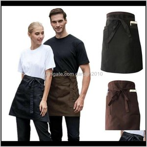 Textiles Home Garden Drop Delivery 2021 Universal Unisex Short Waist Apron Kitchen Cooking Women Men Bar Aprons With Pocket For Chef Waiter W