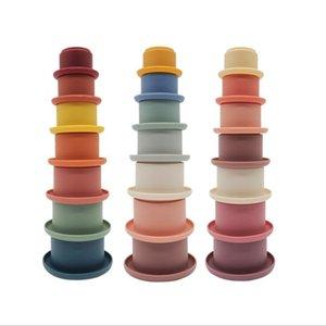 Детские укладки чашки забавные игрушки радуги цвет кольцо башня ранний образовательный разведыватель детские игрушки гнездовые кольца башни ванны играют воду набор силикагель игрушка WMQ1081
