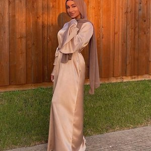 Этническая одежда 2021 Мусульманские Женщины Летнее Абая Платье Maxi Свободные Сатин Длинные Слоистые Волшебные Рукав Строка Дубай Арабское Обычное Платья Party Платья