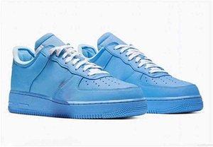 2021 MCA Low 1 أحذية رياضية رجالية OFF '07 Moma University Blue Red White Virgil Ablo Metallic Silver Sneakers مع المربع الأصلي