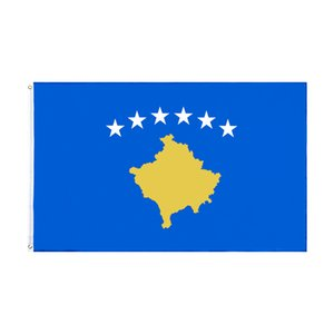 Kosovo Natinal Flag Retail Direct Factory Wholesale 3x5Fts 90x150cm Polyester Banner Indoor Outdoor Usage Canvas Head with Metal Grommet