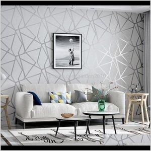 Wallpapers Grey Geometric Wallpaper For Living Room Bedroom Gray White Patterned Modern Design Wall Paper Roll Home Decor1 Cm45J 8Nsdr
