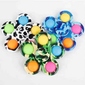 Sensory Fidget Spinners Printed Flower Bubble Poppers Board DNA Rainbow Balls Push Spinners Finger Fun Kids Adult Stress Relief Desktop Poo Bubbles G4U12ME